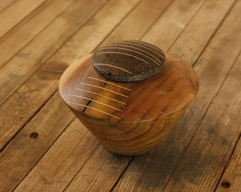 Almond wooden box with lid, Kintsugi, recycled coffee lid