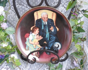"Norman Rockwell Plate ""Tender Loving Care"" Limited Edition Collectors Plate, The Ones We Loves Series 1st plate in the series, 1988"