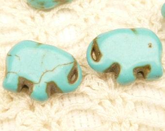 Small Turquoise Howlite Elephant Beads (8)