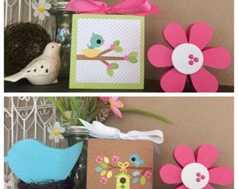 Lil' Spring Birds 4x4 Wood Blocks - Spring, Summer Decor