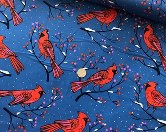 Winter Cardinals Blue  - Frost - Sarah Watts - Cotton + Steel - Quilters Cotton Available in Yards, Half Yards, Fat Quarters c5185-01