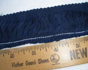 "Blue 1.75"" wide Cotton Fringe trim retro choose yards yardage sewing crafts costume home decor national blue"