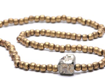 Antique Rustic Brass Bead Necklace with Pyrite Cube
