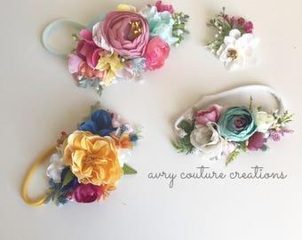 Flower Crown- baby girl headbands- girls headband- flower headbands- floral crown- flower crown- baby flower crown- newborn crown