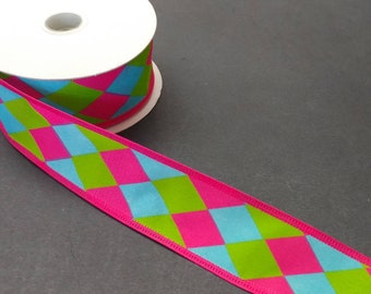 "FREE SHIPPING- 1.5"" Wired Hot Pink, Lime Green, and Blue Harlequin Ribbon - 5 Yards"