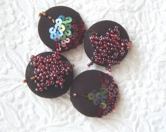 4 dark brown purple beaded embroidered buttons, accent a sweater, use for gift wrapping, 1 1/8 inch