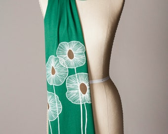 green scarf, jersey scarf, long green scarf scarf, clover green, hunter green, forest green