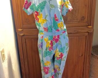 Retro Liz Claiborne Rocker Hippie Cottage Chic Boho Jumper Romper Jumpsuit Pantsuit/ Rocker Floral Statement Resort Wear M