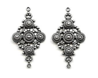 2 Oxidized silver ornates onnectors, 46x26 mm
