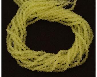 Czech Glass Matte Jonquil Yellow Round Druk Beads 4mm - 100