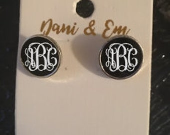 Initialed Enamel Post Earrings