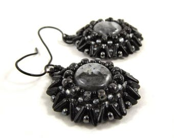 Black and Gray Beadwork Earrings, Beautiful Gemstone and Seed Bead Jewelry