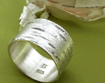 Birch Bark Ring in Sterling Silver, Free Engraving