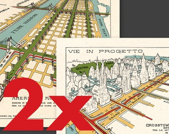 1929 FUTURISTIC NEW YORK - special 2 art prints combo: Crosstown Boulevard + American Multiple Highway