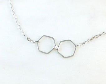 Silver necklace. Double  hexagon.