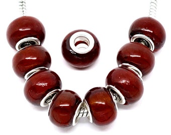 4 pieces Dark Red Lampwork Glass European Beads