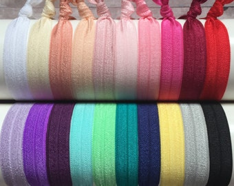 FOE Hair Ties, 10 Pack, No Crease Hair Ties, Ponytail Holder, Elastic Hair Ties, Fitness Hair Ties, Knotted Hair Ties, Creaseless Hair Ties