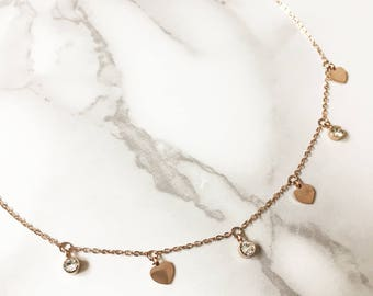 CZ and Small Heart Charms on 18K Gold Plated Necklace