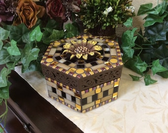 Mosaic Hexagon Box (#163)