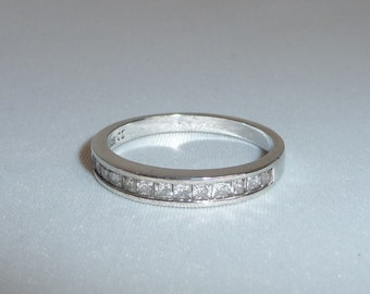 A Beautiful Vintage Solid Silver Channel Set Cubic Zircona Half Eternity Band / Ring