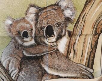 Koala Australian Native Animal 1970's Vintage Unused Ross Australian Dishcloth Cotton Linen Blend Tea Towel