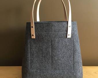 Merino Wool Felt Tote - Charcoal