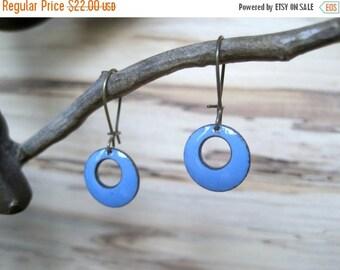 Short Periwinkle Dangle Earrings, Blue Domed Drop Earrings, Copper Enamel Jewelry, Nickel Free Kidney Earwires, Handmade Enamel Earrings