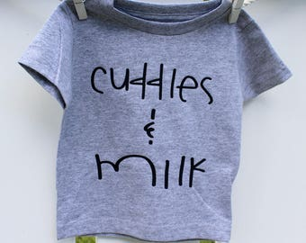Cuddles and Milk, newborn clothes, baby shower gift, mamas girl, baby boy, baby girl, cuddly baby, sweet baby, baby clothes, baby shirt