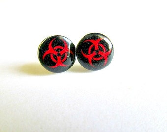 Biohazard Stud Earrings Zombies