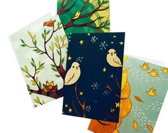 Blank greeting cards, art notecards, boygirlparty, four seasons, blank notecard set, card pack, botanical nature cards, woodland forest art