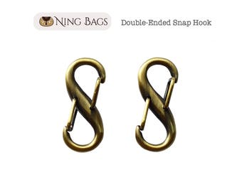 Set of 2 // Double-Ended Snap Hook, Key Hook, S-Clip Snap Hook with Gate Closure, Bag Hardware (Brushed Antique Brass Finish)