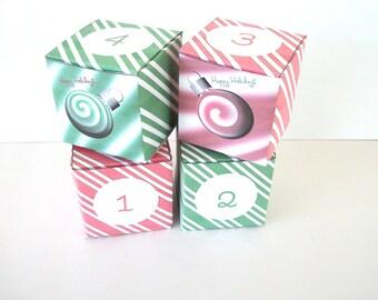 Christmas DIY Christmas Advent Calendar Red Green Peppermint Spearmint Ornament Printable Cube Favor Box