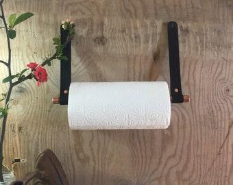 Kitchen roll holder - kitchen roll tidy - copper kitchen roll holder - leather kitchen roll holder - kitchen tidy - kitchen decor - copper