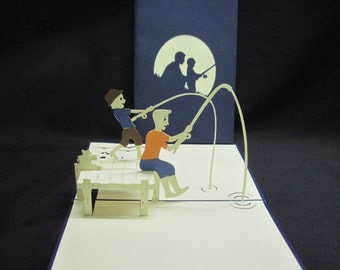 3-D Father & Son Fishing Pop-Up Card, greeting card, popup card, fathers day card