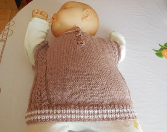 SLEEVELESS SWEATER - baby 3 months - game of twisted front and back
