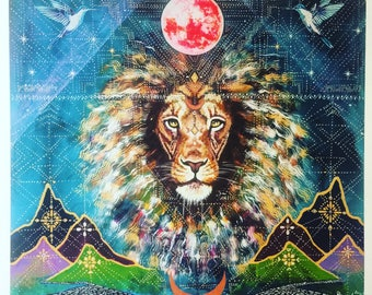 Limited edition signed print Lion Mountain Moon