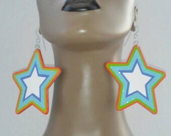 Adorable Star Wooden Earrings Embellished with Beautiful Glitter, Star Earrings, Handmade Earrings, Fashion Earrings, Women's Earrings