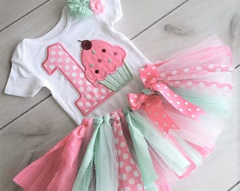 Cupcake First Birthday Outfit/1st Birthday Outfit/Baby Girl Outfit/Pink and Mint Birthday Cake Smash