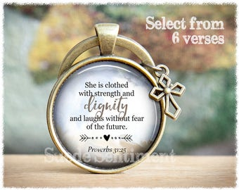 Bible Verse Keychain • Inspirational Gifts • Religious Gift • Religious Verse Keyring • Bible Quote Keyring