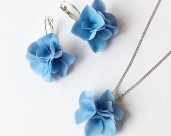 Blue hydrangea jewelry set blue hydrangea Pendant blue hydrangea earrings Floral Jewelry set for Girls bridal Jewelry set Gift for her
