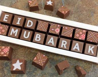 EID MUBARAK - Message Chocolates - Milk Chocolate - Dark Chocolate - Eid Mubarak Message - Ramadan gift - Eid Gift - Sweet Gift for Eid