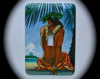 METAL Decorative Single Switch Plate  Hula Girl, Hawaii, Ocean, Light Switchplate, Switch Plate Cover, Home Decor