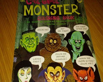 Vintage 1964 Cool Ghoul Monster Coloring Book monster mask book