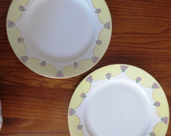 Vintage Hand Painted Flowers Yellow and Pink Dinner Plate