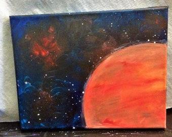 Mars Galaxy Star 8x10 Acrylic Painting
