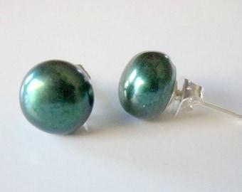 Genuine Pearl Studs, Freshwater Pearl Earrings, Green Pearl Earrings, Real Pearl Post Earrings, ,Dark Green Pearls, Emerald Green Earrings