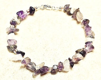 Large Amethyst Bracelet with Sterling Silver clasp, Jewelry for Women