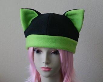Fleece Cat Hat / BLACK + LIME GREEN Beanie Style Cap Cute Anime Neko Cosplay Cat Ears Kitty Ears Kawaii Japanese Fashion