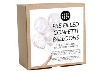 """Pre-filled Confetti Balloons / 11"""" White Metallic Set of 6"""