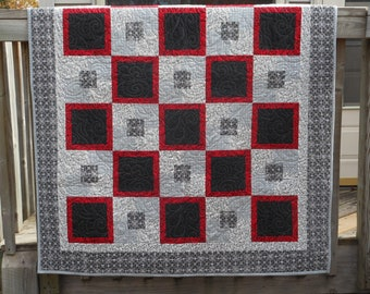 Geometric Patchwork Quilt, Quilted Blanket, Red Black Gray Patchwork Quilt, Modern Blanket, Geometric Patchwork Blanket
